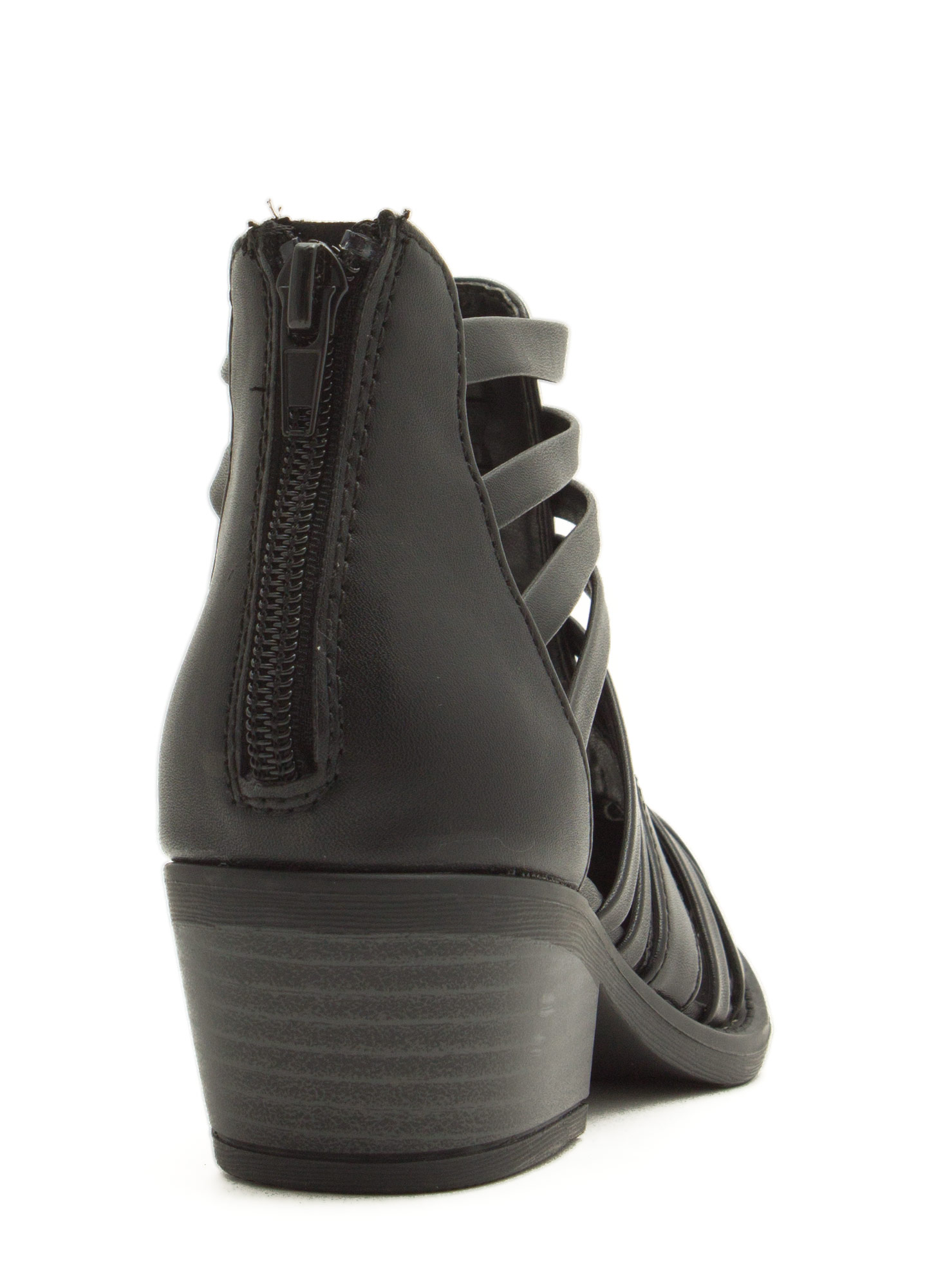 Cage Me Cut-Out 'N Slit Booties BLACK