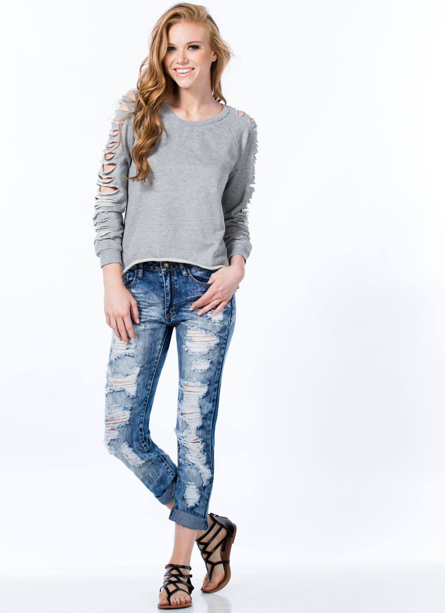 Best Revenge Destroyed Boyfriend Jeans BLUE