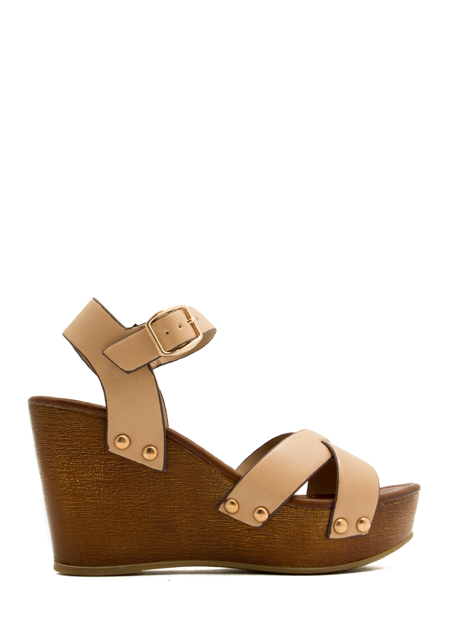 Cross The Line Platform Wedges NATURAL
