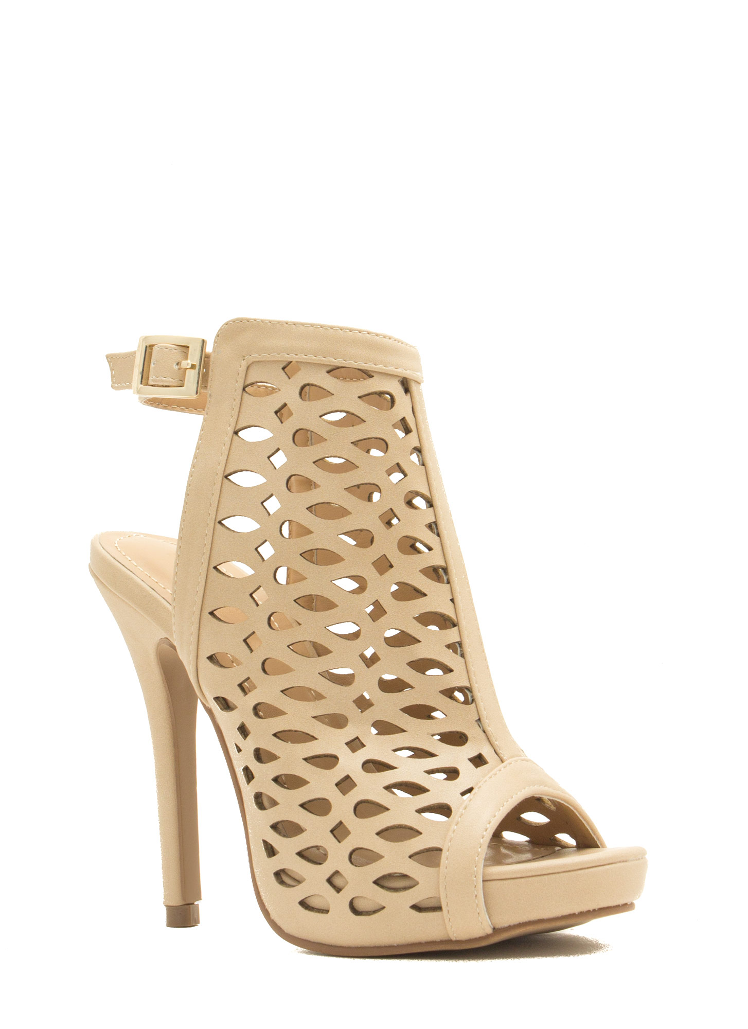 Marquis N Teardrop Cut-Out Heels NUDE