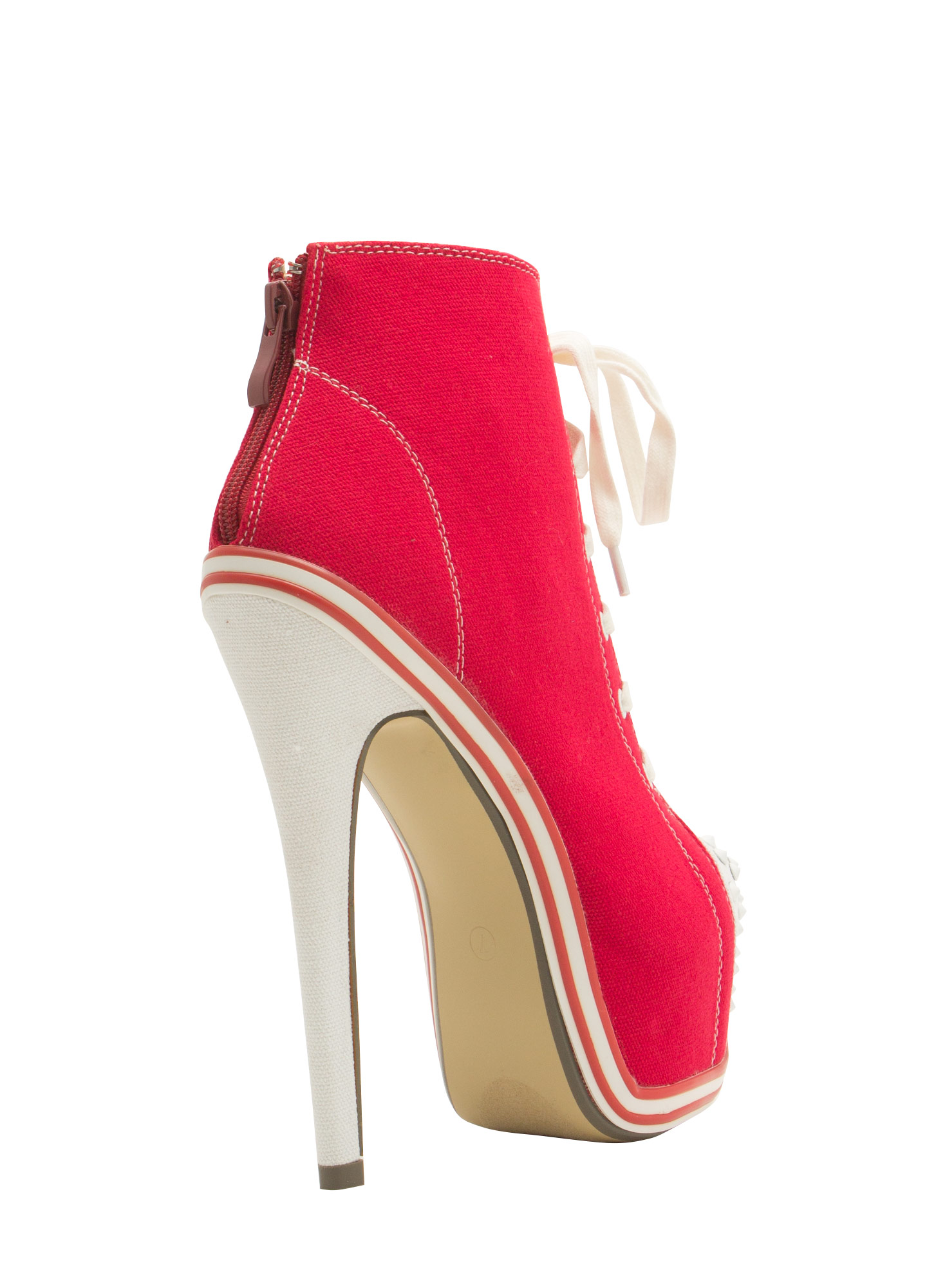 Sneak Peak Canvas Platform Booties RED