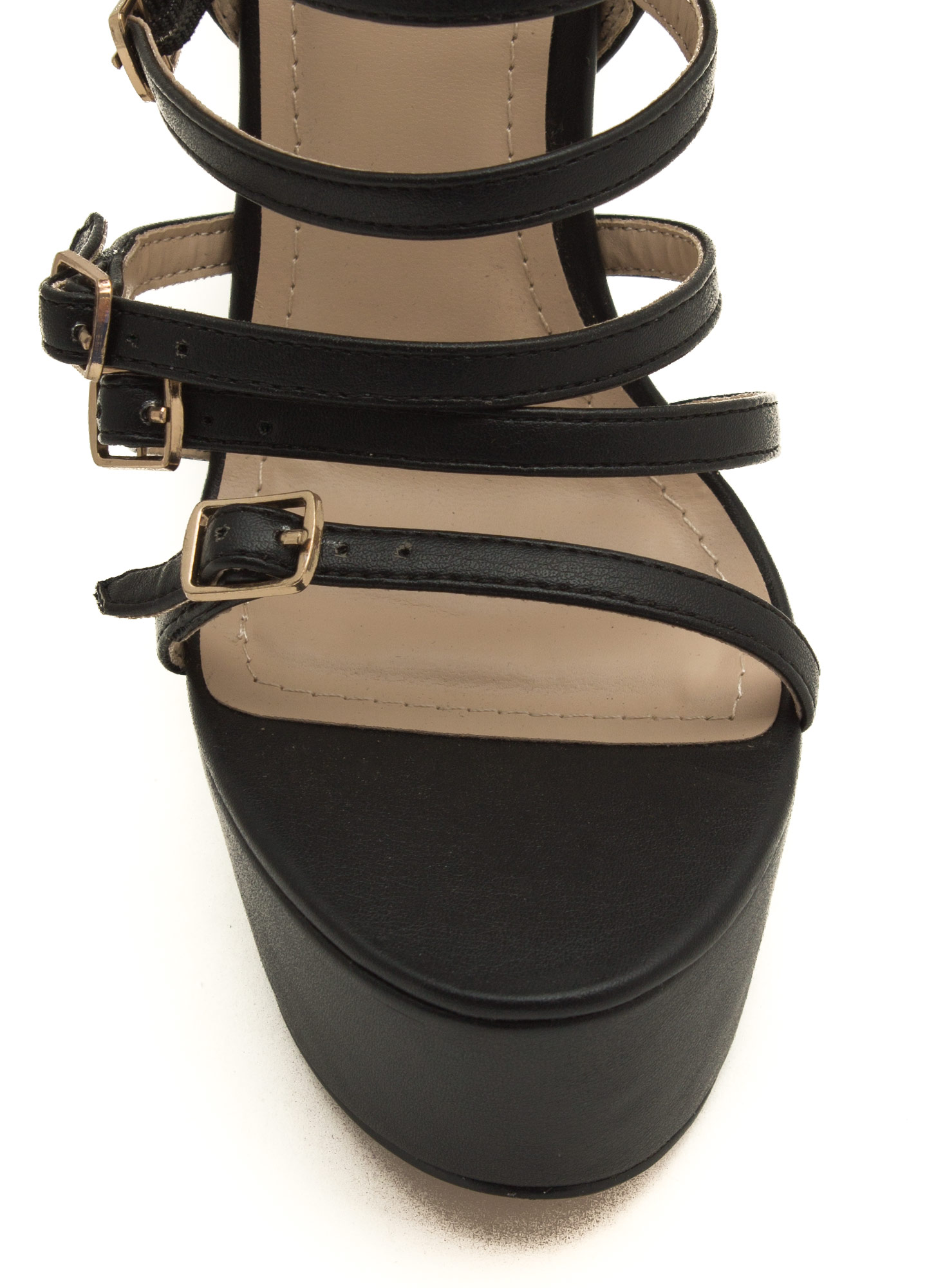 Buckle Up Platform Heels BLACK