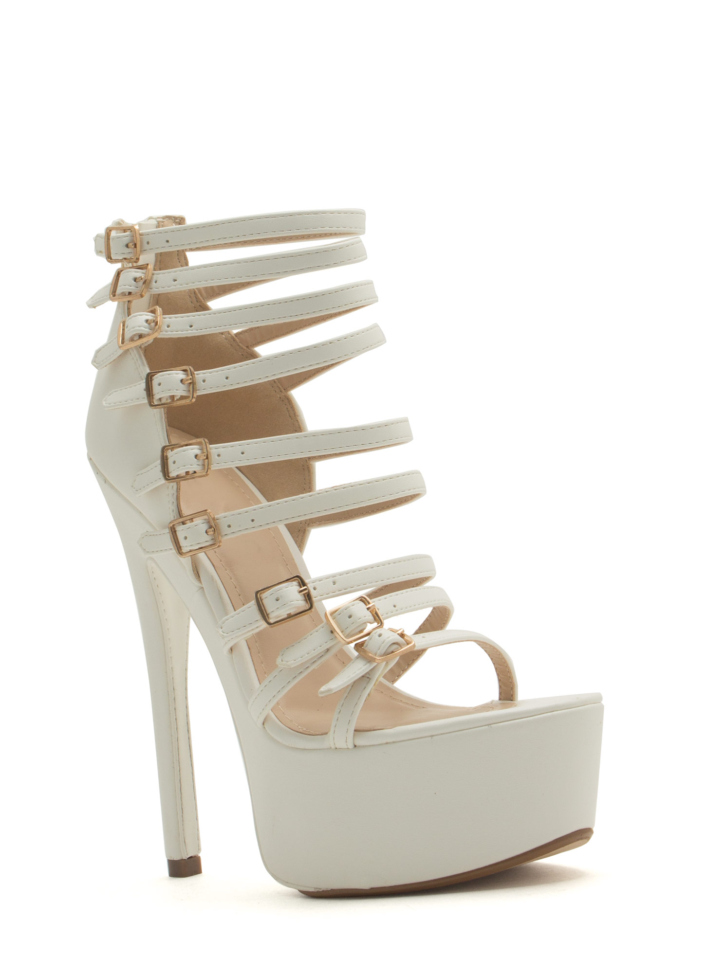 Buckle Up Platform Heels WHITE