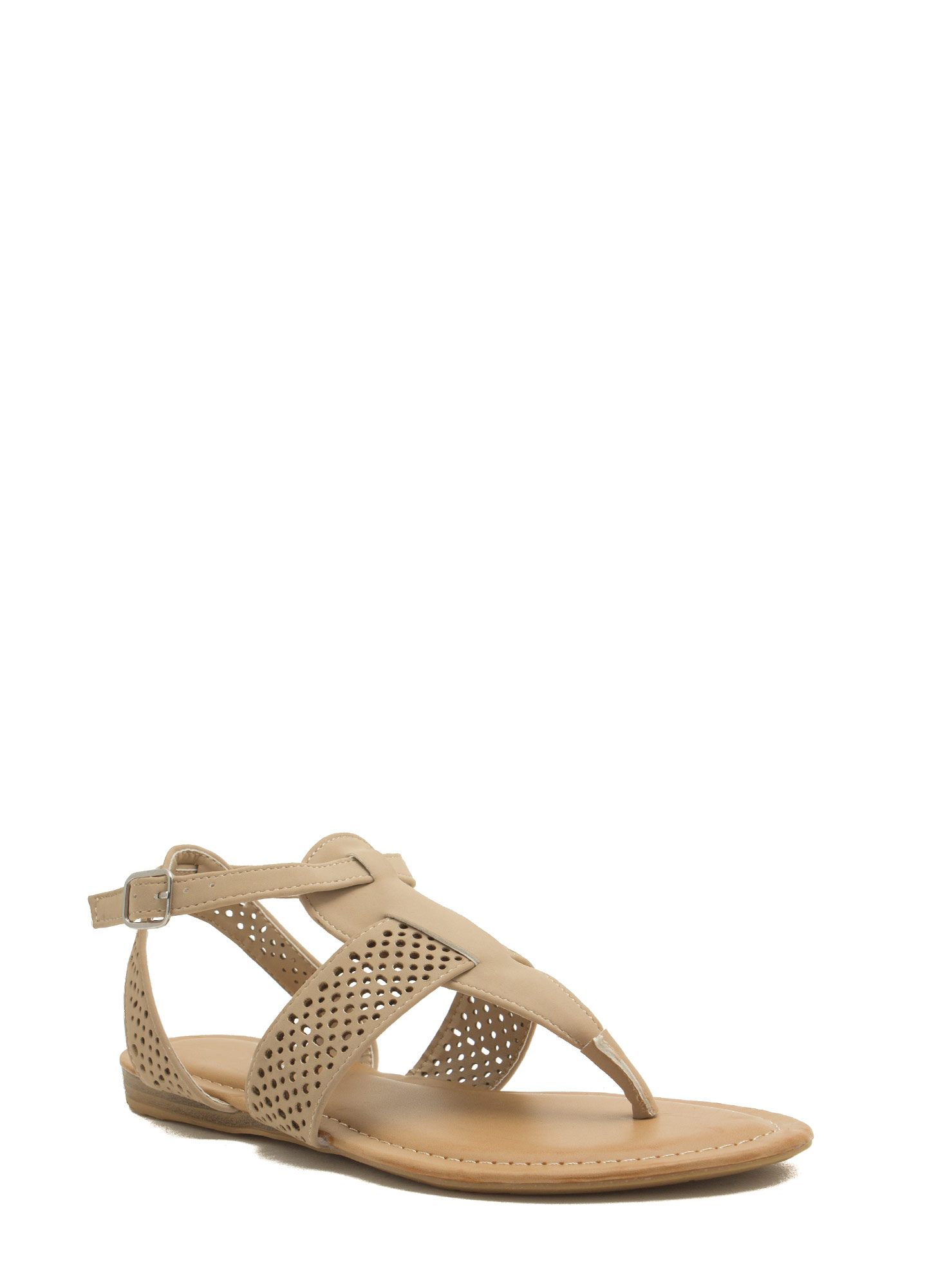 Perforated Strap Tapered Sandals NUDE