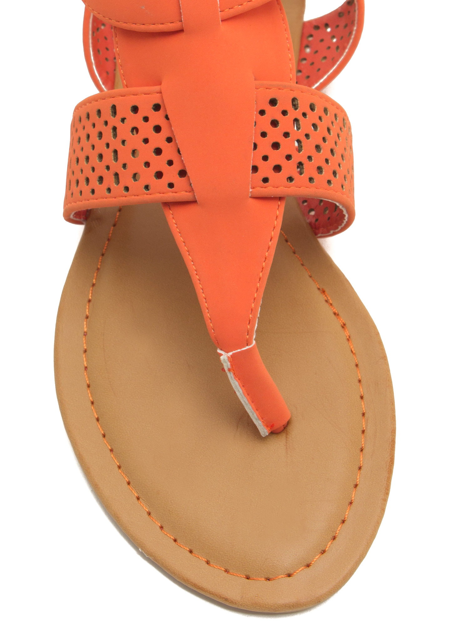 Perforated Strap Tapered Sandals ORANGE