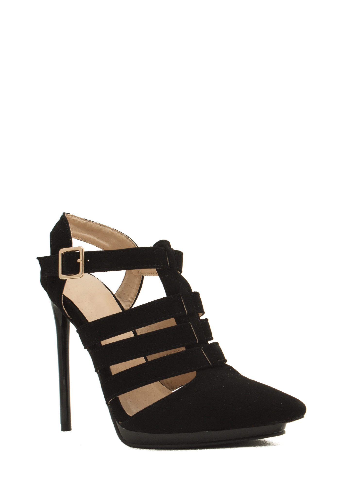 Get Your Point Across Strappy Heels BLACK