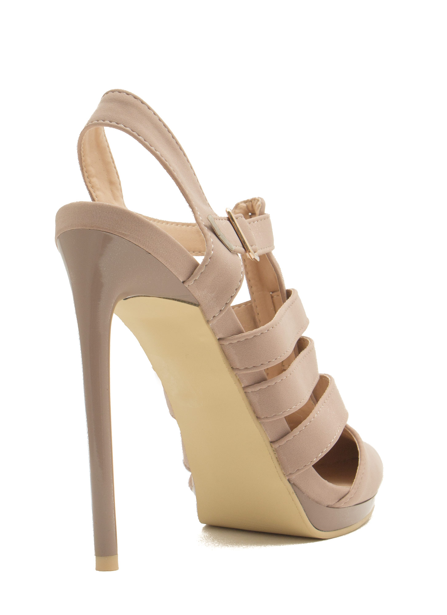 Get Your Point Across Strappy Heels NUDE
