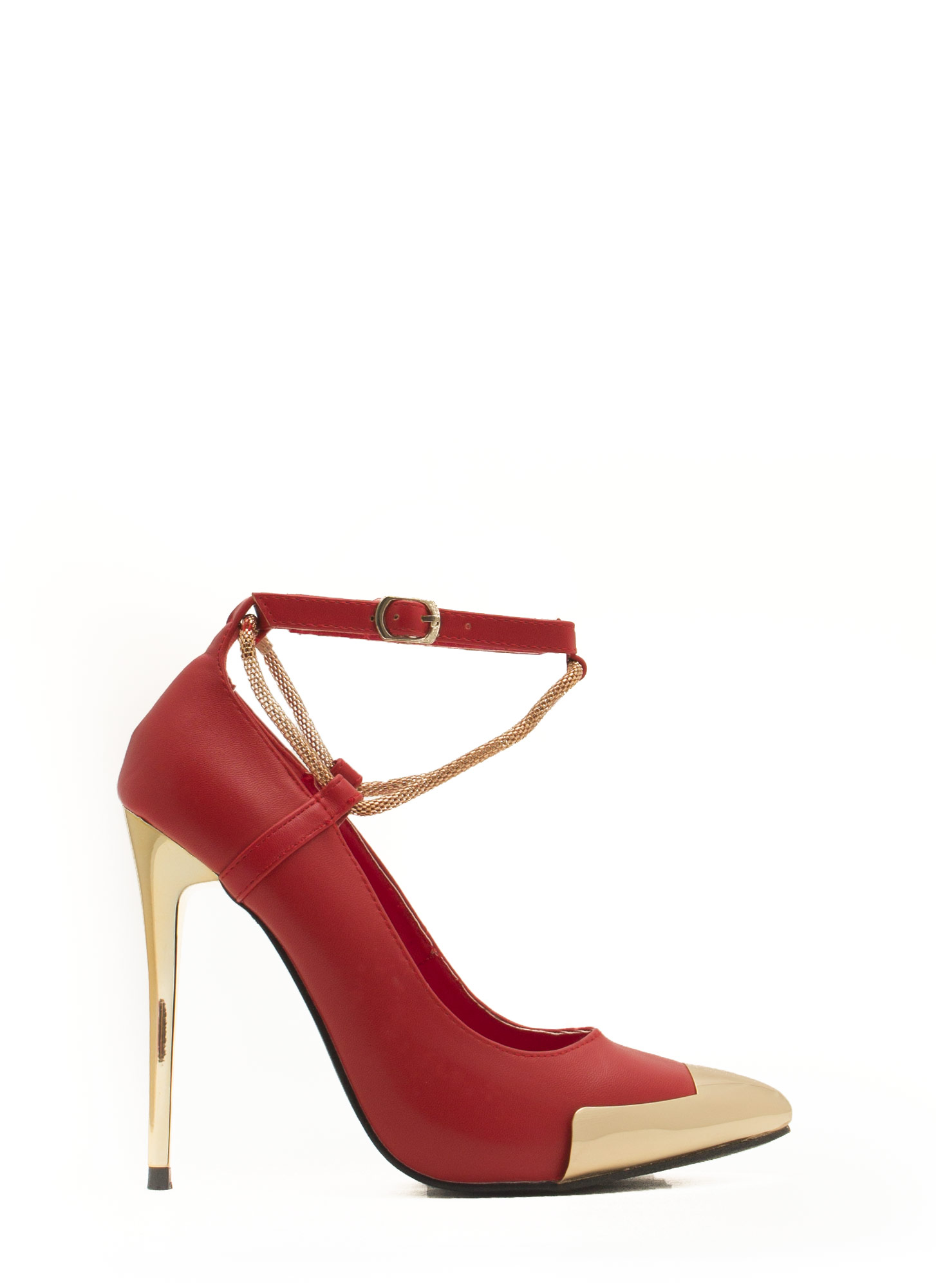 Good Point Plated Snake Chain Heels RED