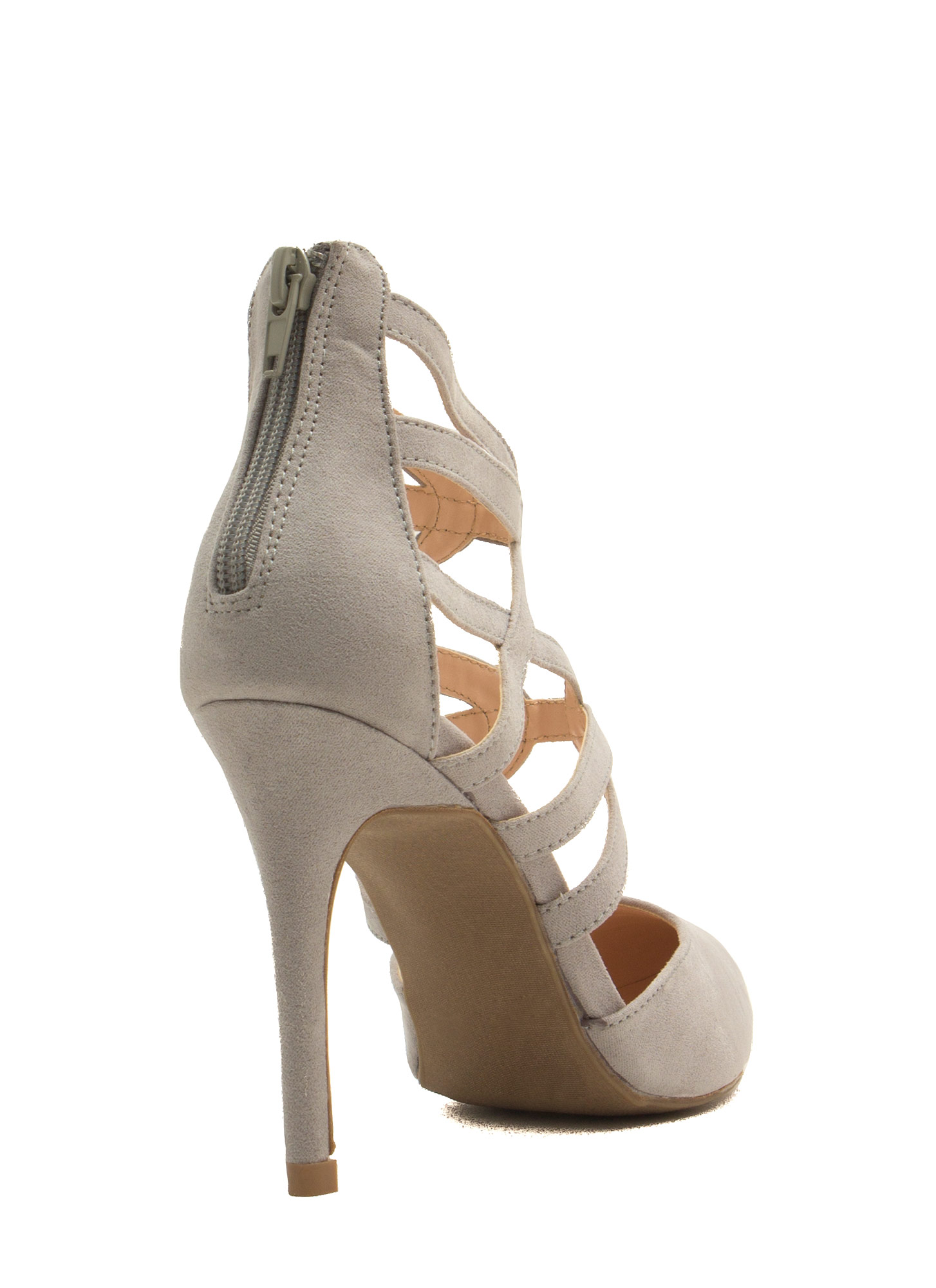 What's Ur Angle Cut-Out Heels LTGREY