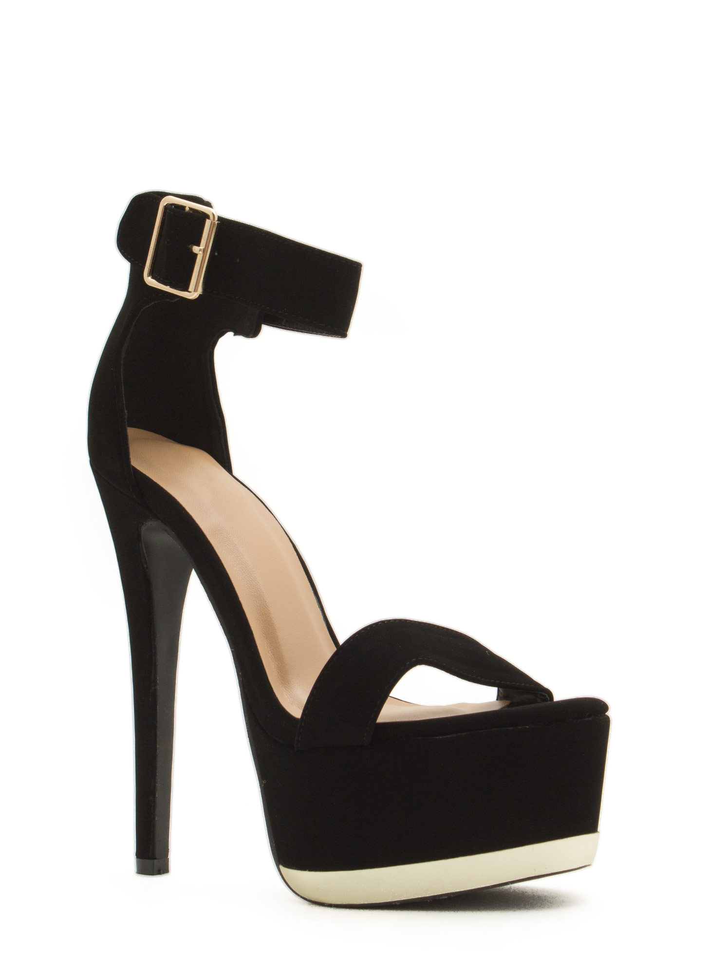 Heavy Metallic Platform Heels BLACK