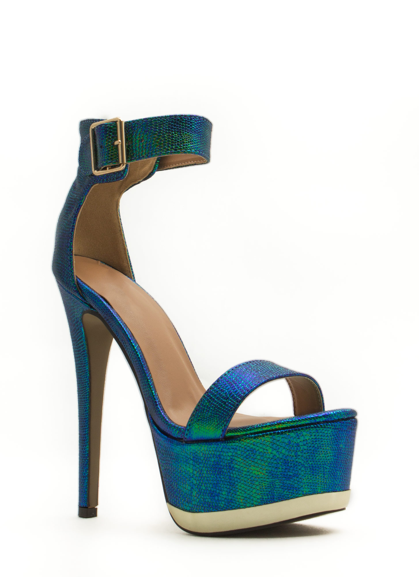 Heavy Metallic Platform Heels BLUE