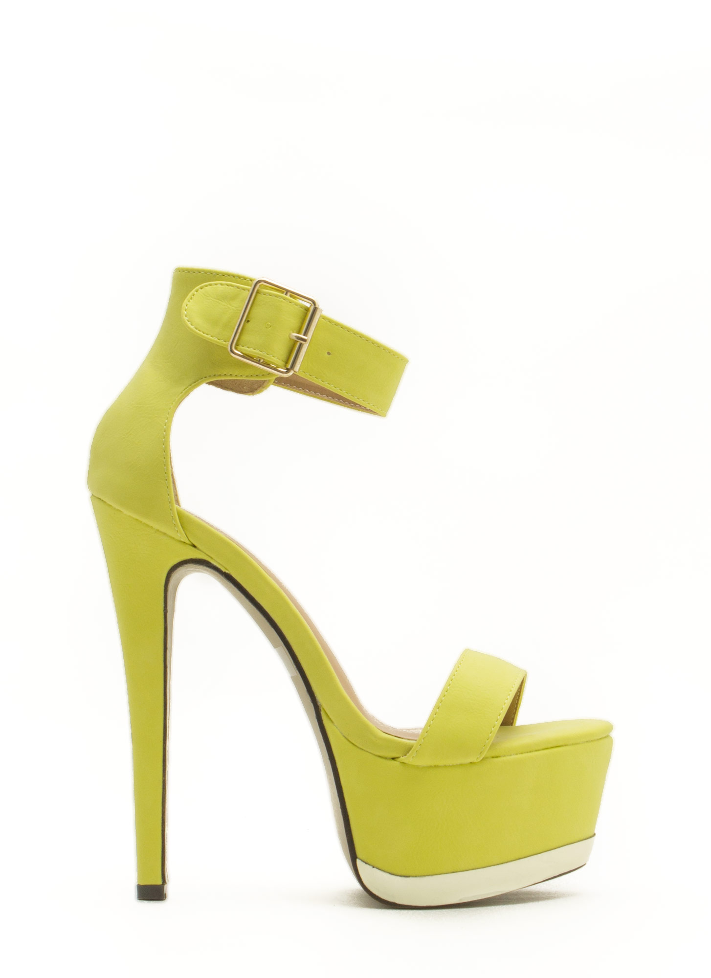 Heavy Metallic Platform Heels LIME