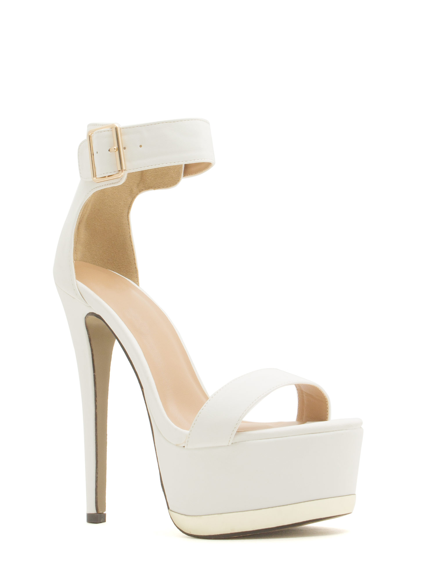 Heavy Metallic Platform Heels WHITE