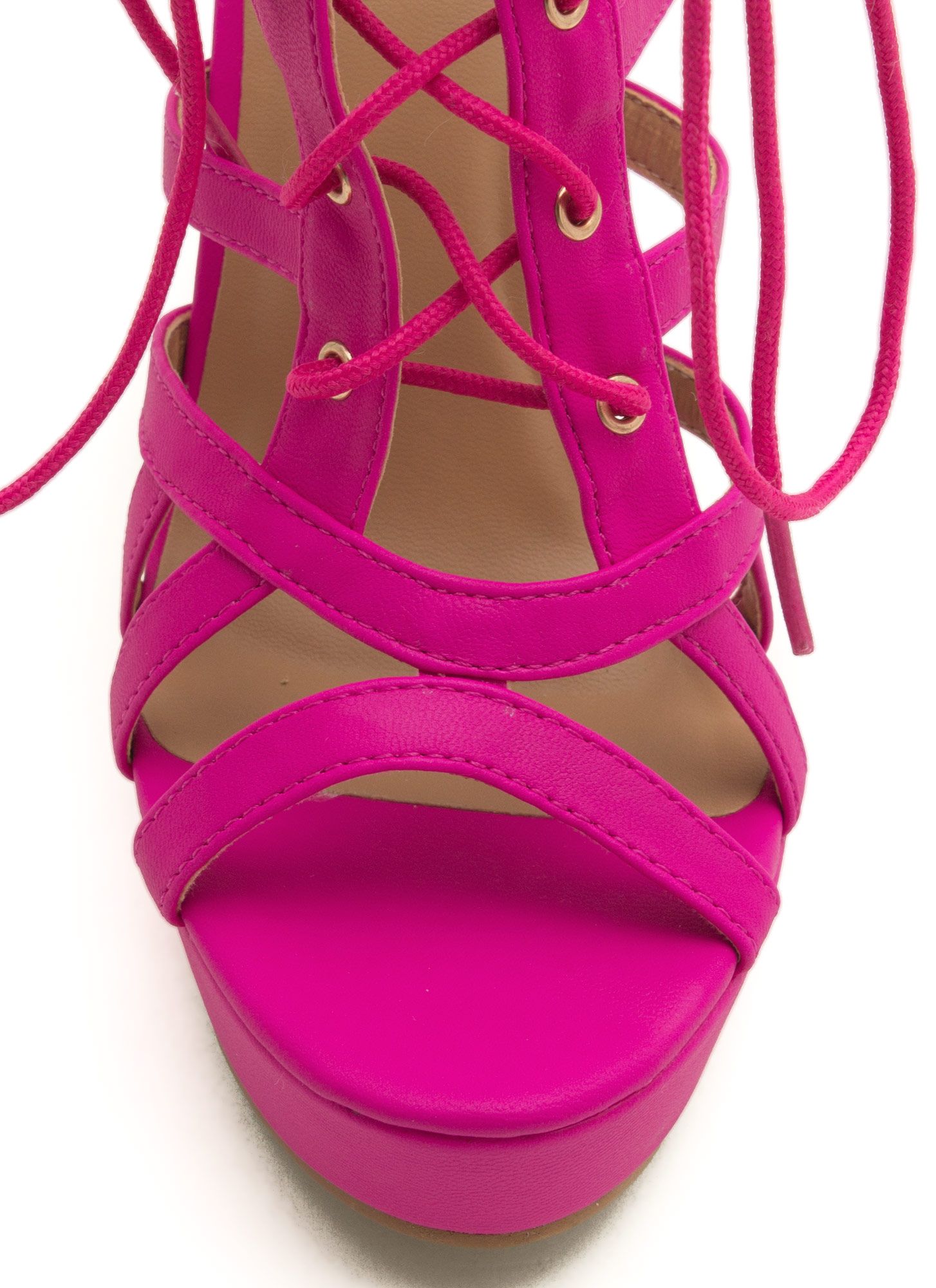 Secret Is Cut-Out Lace-Up Heels HOTPINK
