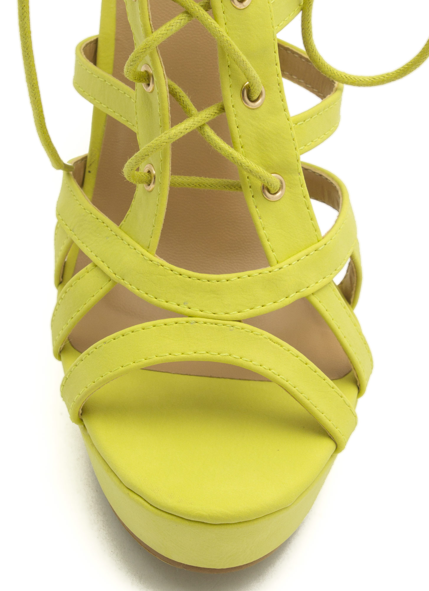 Secret Is Cut-Out Lace-Up Heels LIME
