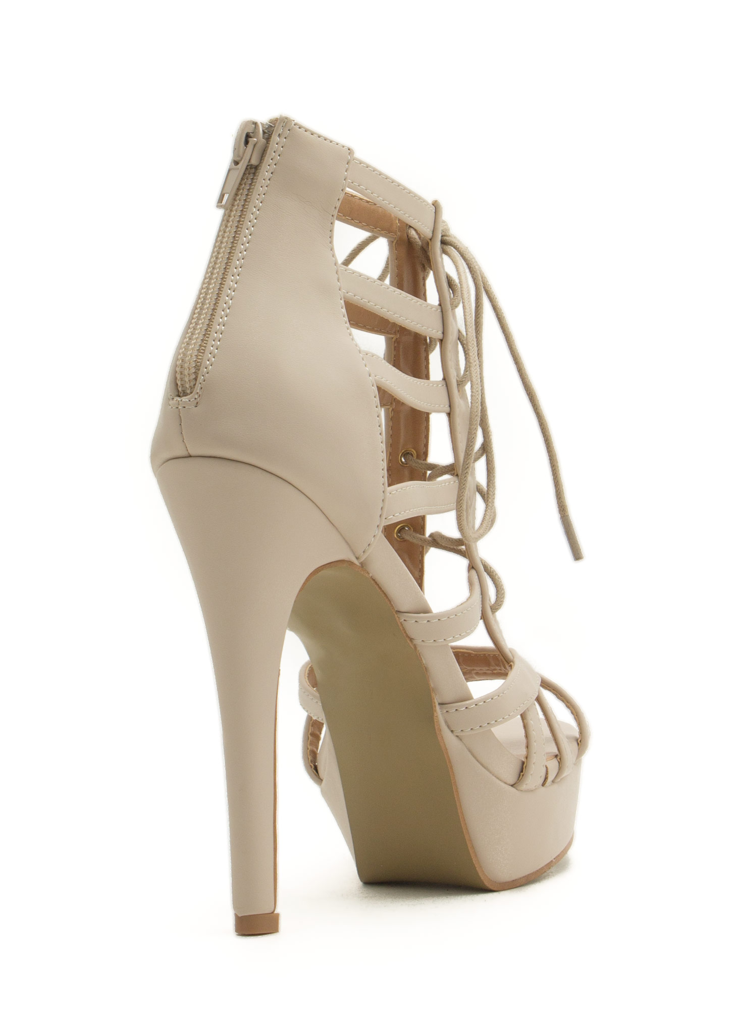 Secret Is Cut-Out Lace-Up Heels NUDE