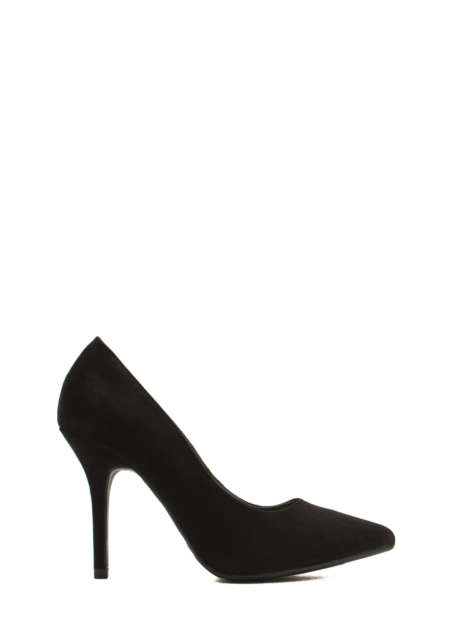 To The Point Faux Suede Heels BLACK