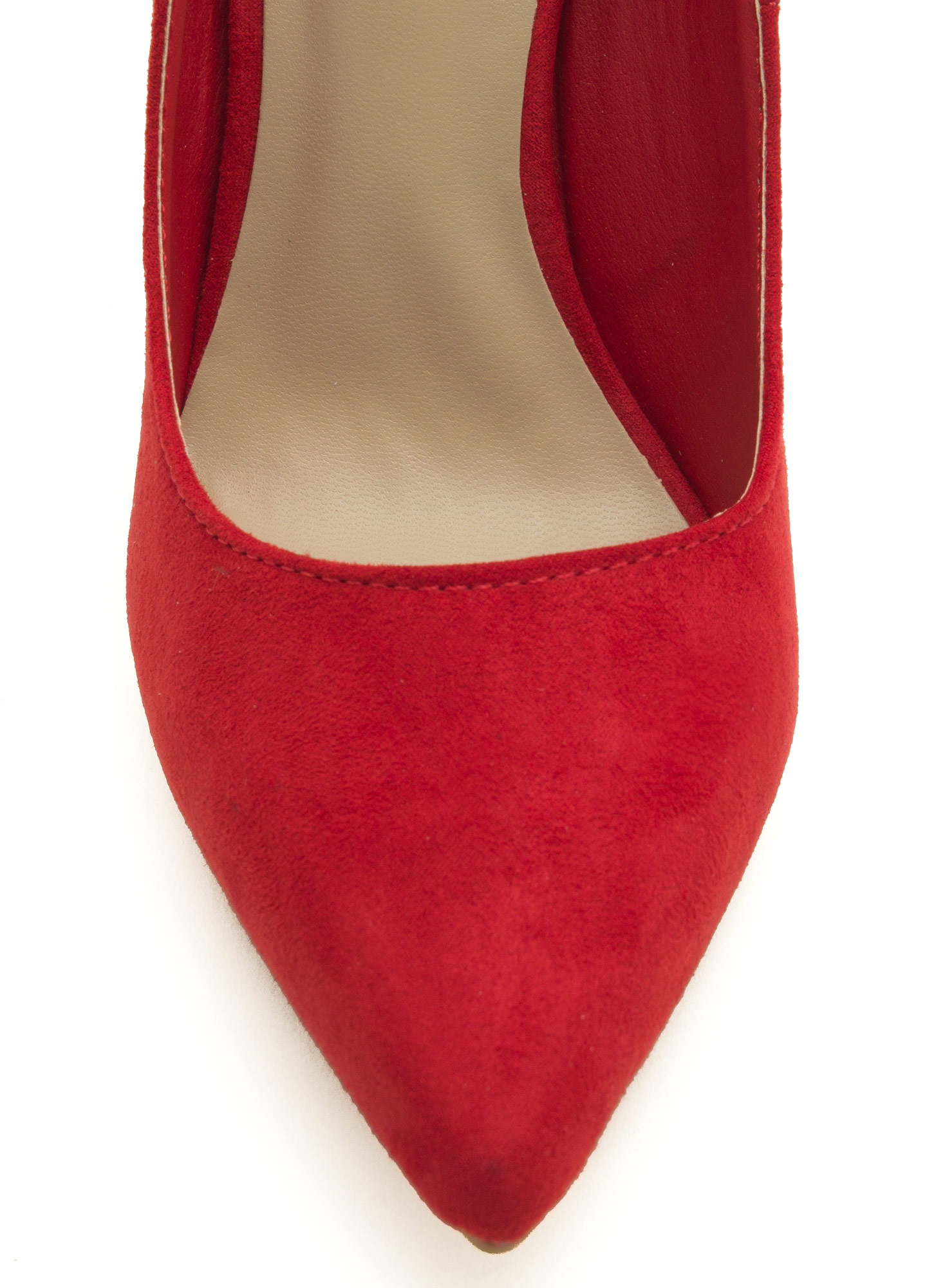 To The Point Faux Suede Heels RED