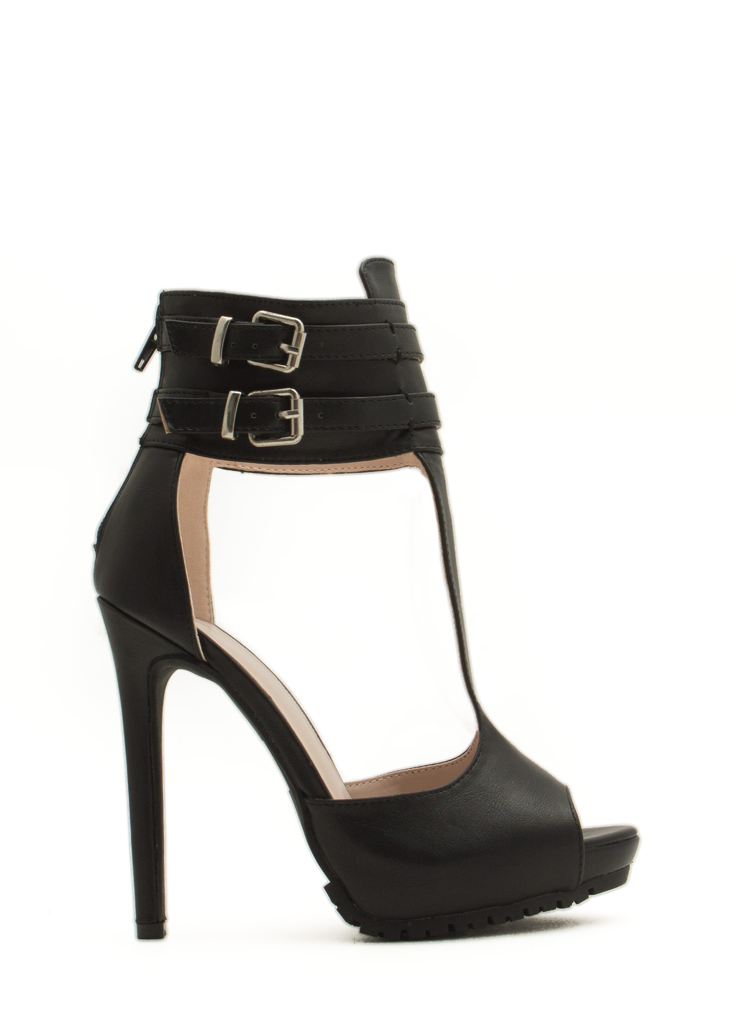 Good Luck Double Buckle T-Strap Heels BLACK