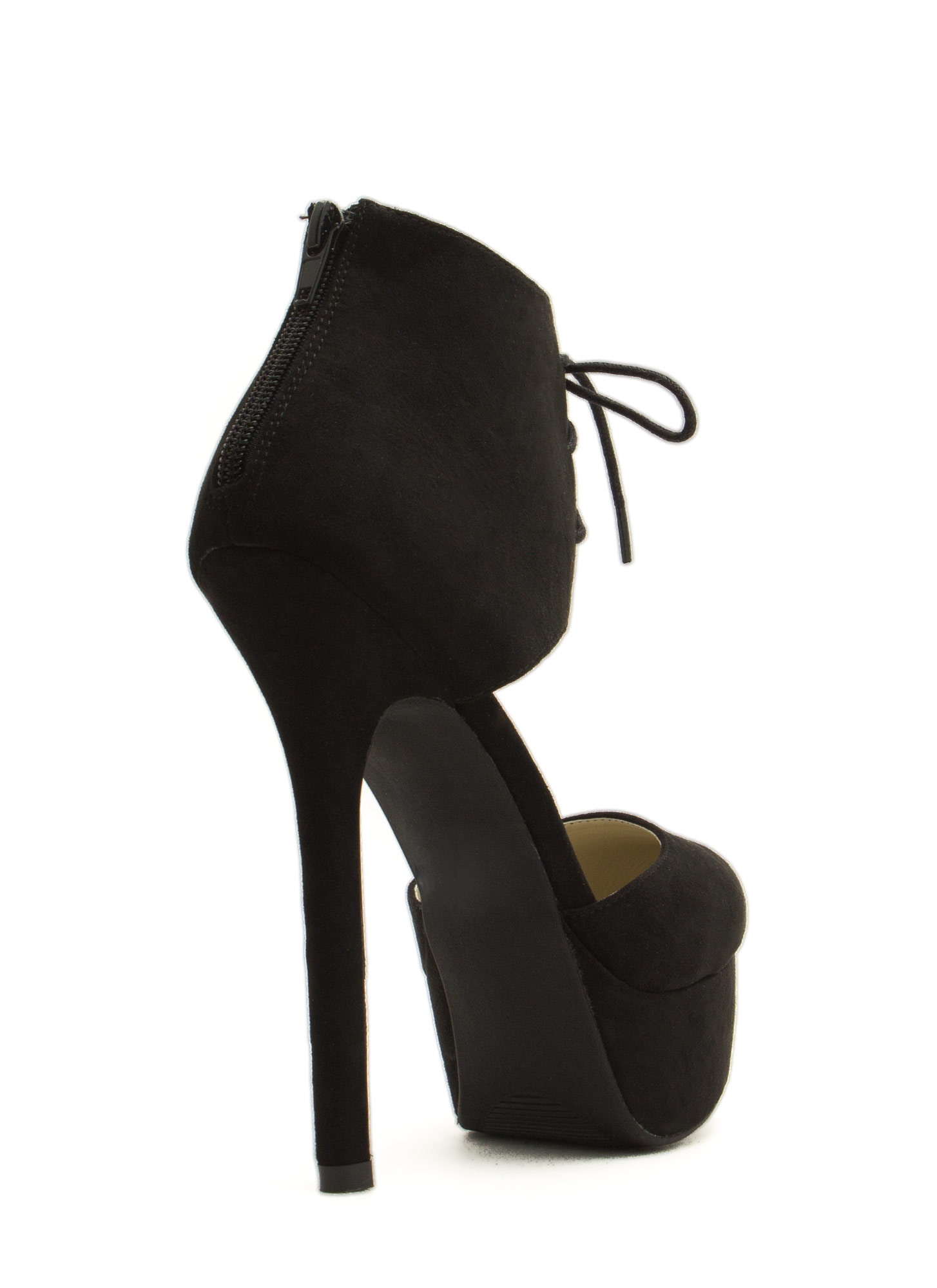 Wrapped Lace-Up Platform Heels BLACK