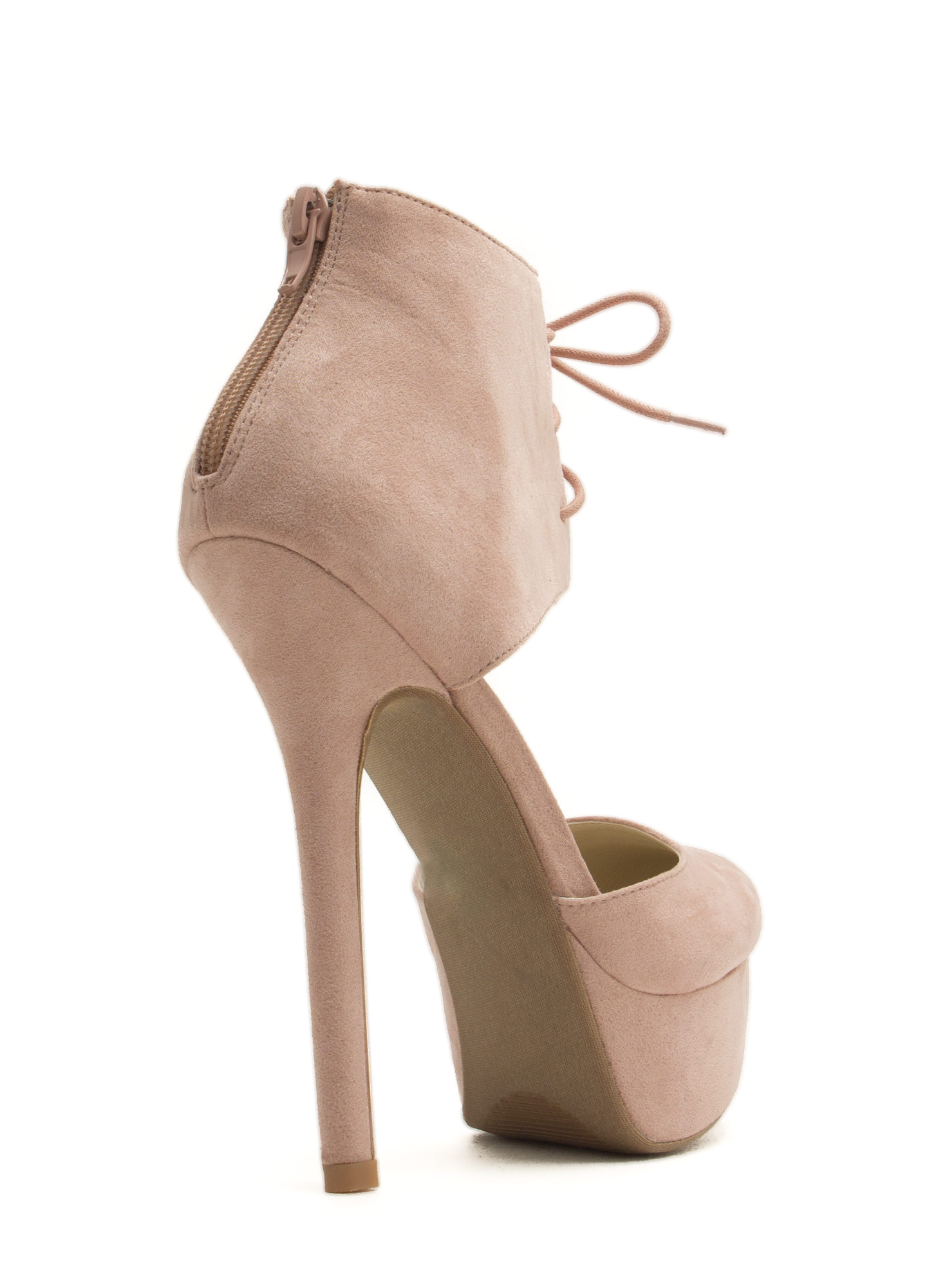 Wrapped Lace-Up Platform Heels NUDE