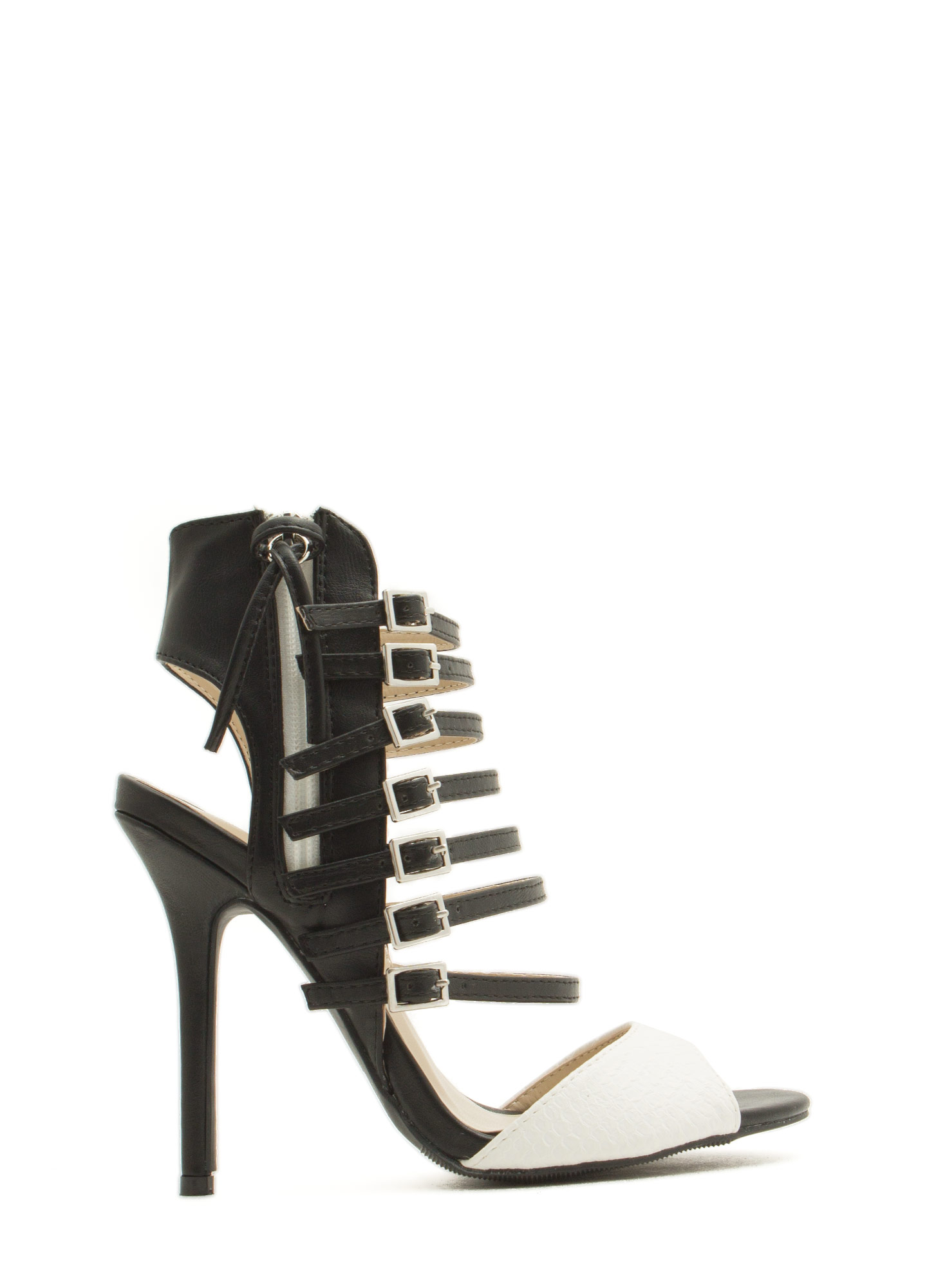Seven Is Heaven Buckled Heels BLACKWHITE