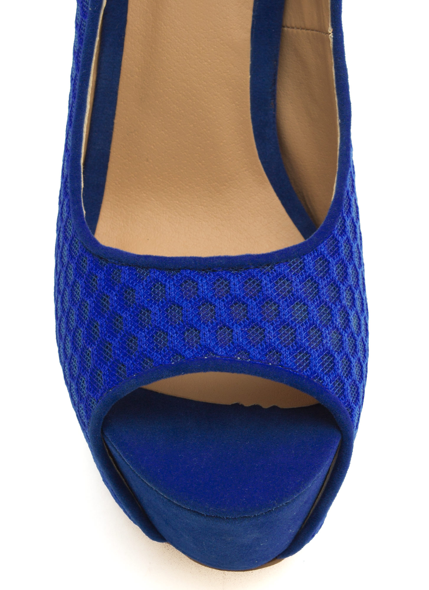Honeycomb Mesh Peep-Toe Heels BLUE