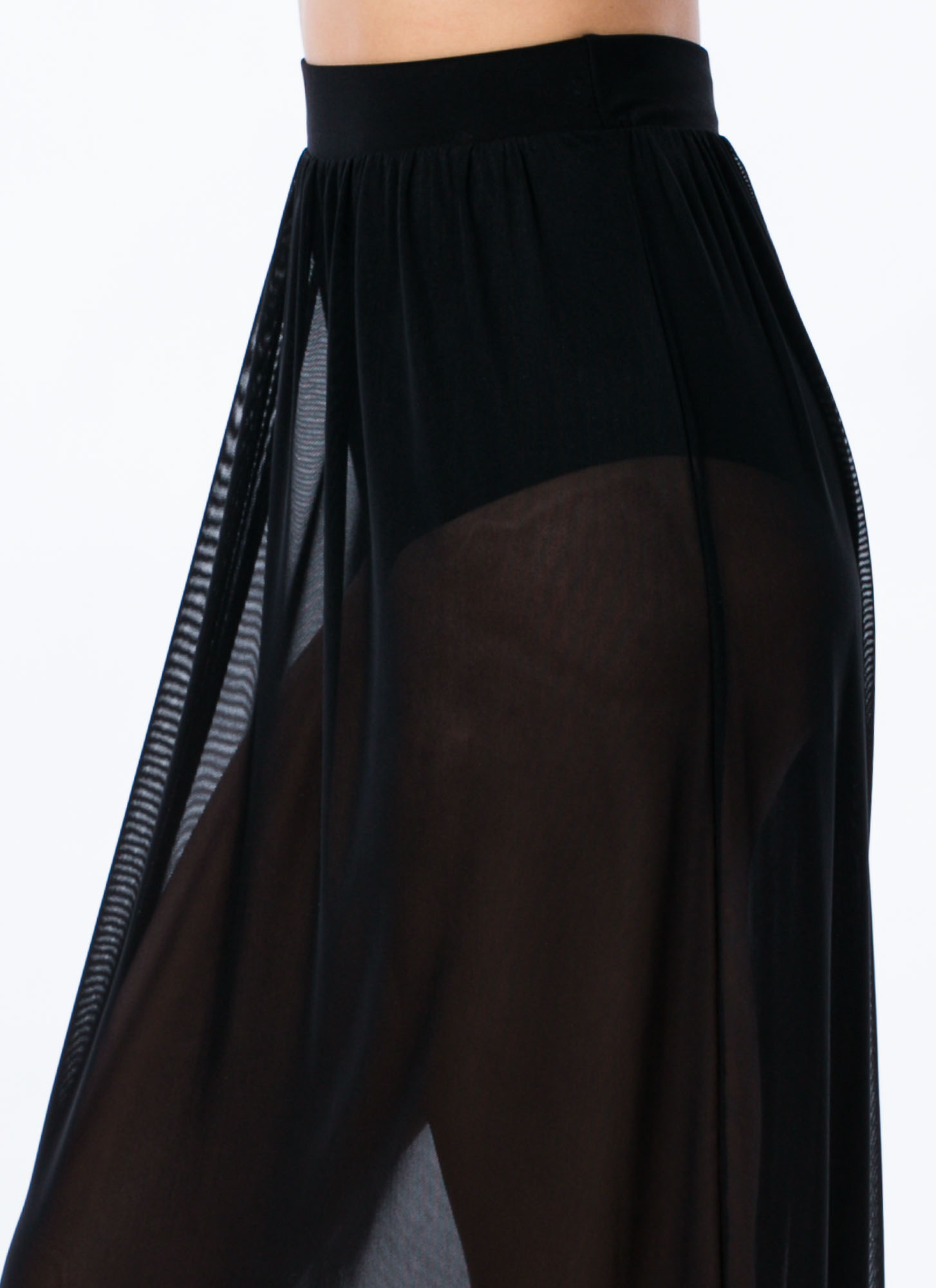 So Transparent Sheer Mesh Maxi Skirt BLACK