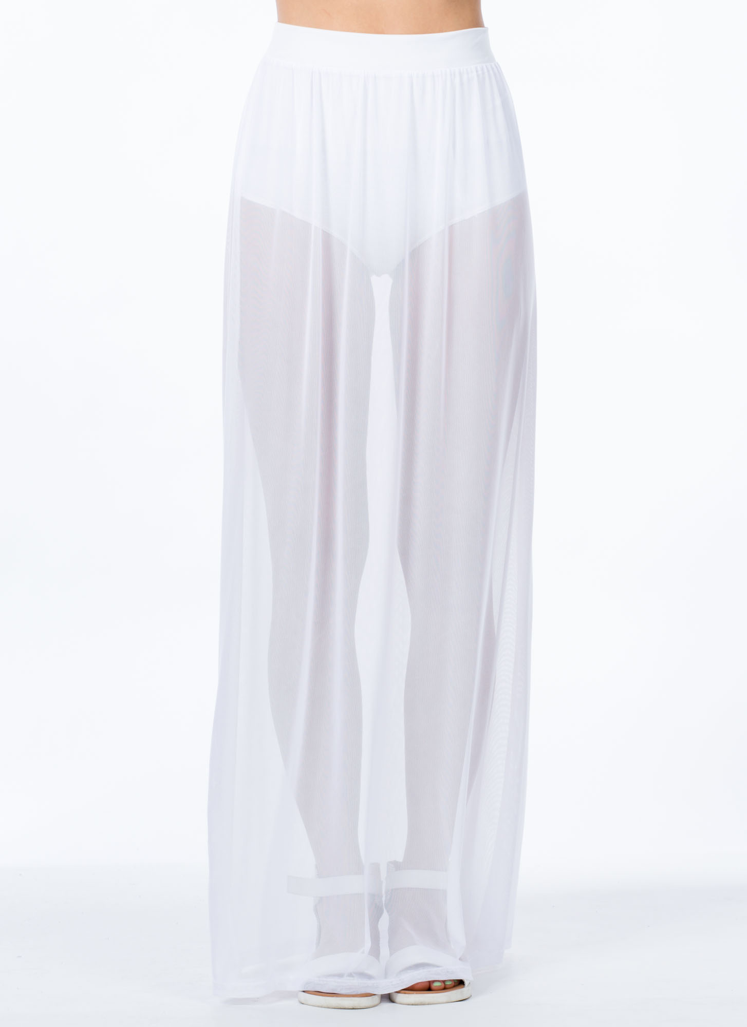 So Transparent Sheer Mesh Maxi Skirt WHITE